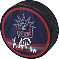 $49 » K'Andre Miller New York Rangers Autographed Reverse Retro Logo Hockey Puck - Autographed NHL Pucks