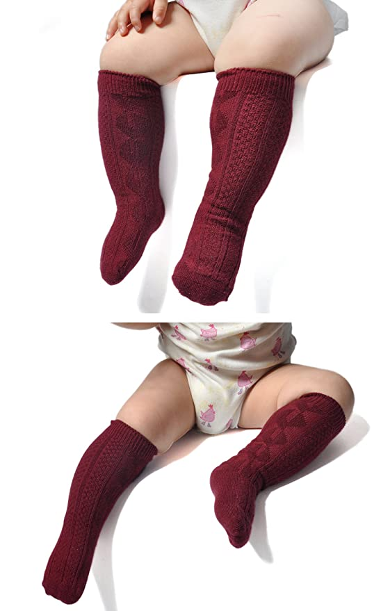 Amazon.com  Epeius Unisex-Baby Seamless Cable Knit Knee High Socks (Pack of  3 6)  Clothing d08c535fa
