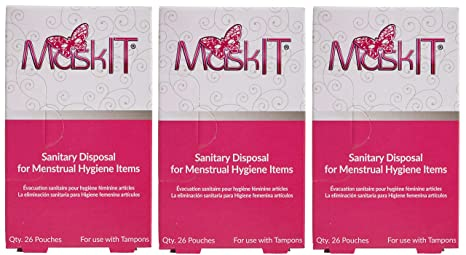 MaskIT Sanitary & Discreet Disposal Feminine Hygiene Pouches Small - for use with Tampons, 78 Count (3 Boxes)