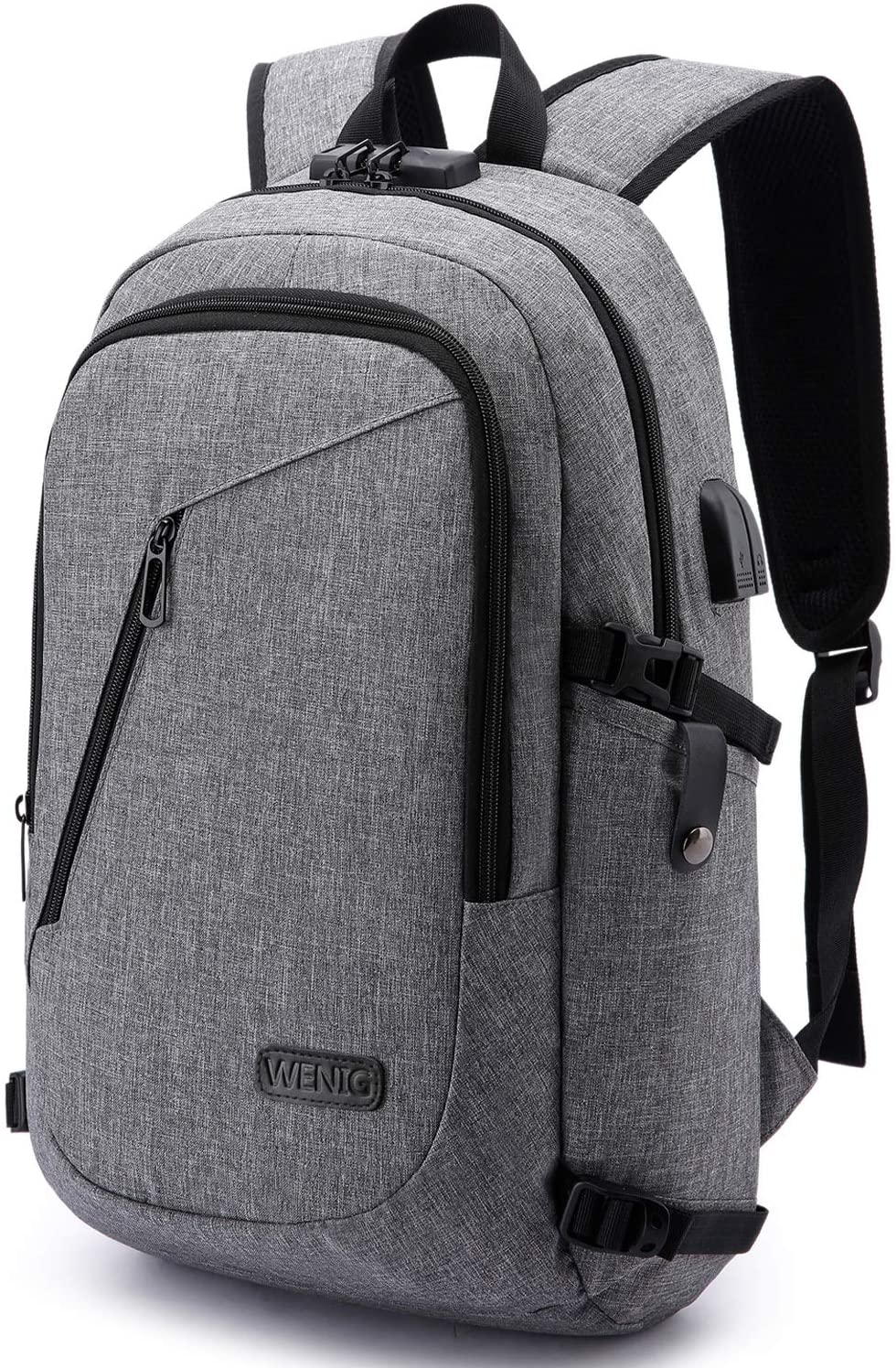 Laptop Backpack,Business Travel Anti Theft Backpack for Men Women with USB Charging Port,Slim Durable Water Resistant College School Bookbag Computer Backpack Fits 15.6 Inch Laptop Notebook,Grey