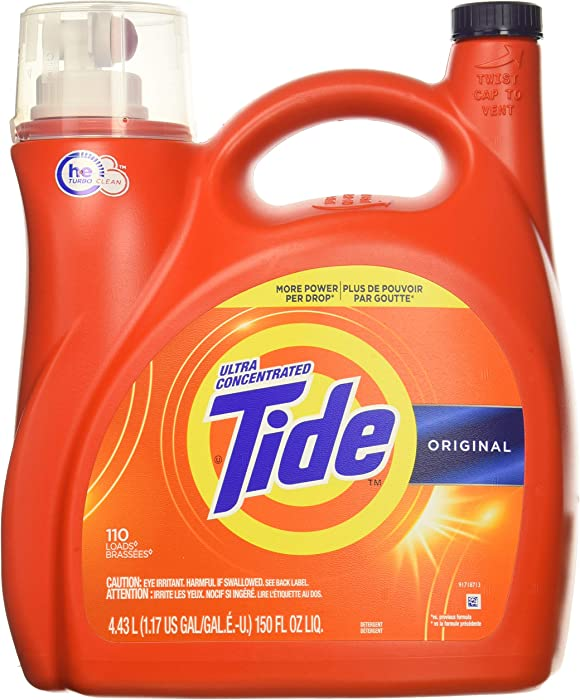 Tide Original 037000777335 High Efficiency Laundry Detergent 150 Oz / 4.43L Mega Value Size -110 Loads (2x Ultra Concentrated) More Power Per Drop