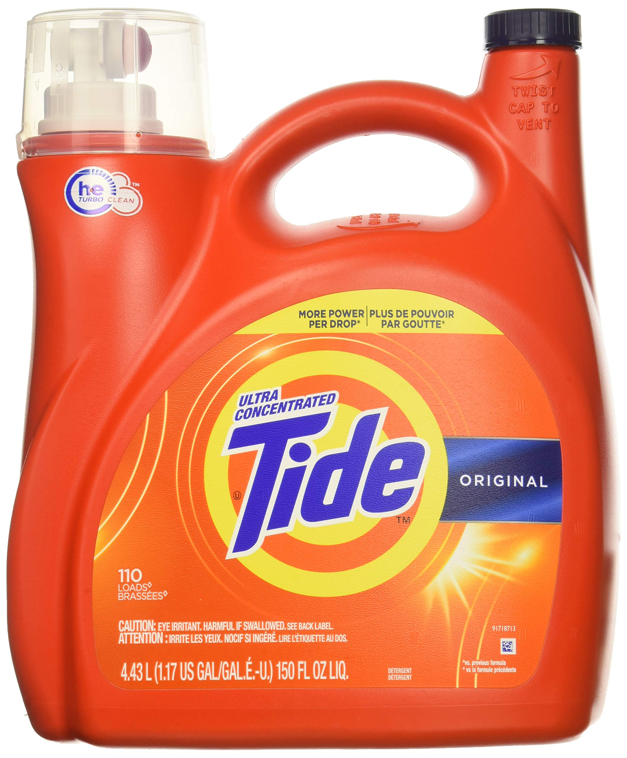 Tide Original 037000777335 High Efficiency Laundry Detergent 150 Oz / 4.43L Mega Value Size -110 Loads (2x Ultra Concentrated) More Power Per Drop by Tide