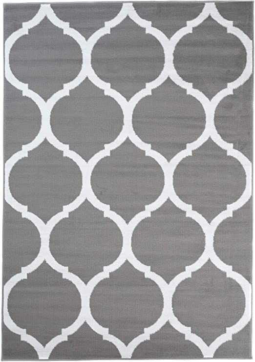 Tapiso Collection Luxury Tapis de Salon Chambre Moderne Couleur Gris Fonc/é Blanc Motif G/éom/étrique Facile dentretien Haute Qualit/é 120 x 170 cm