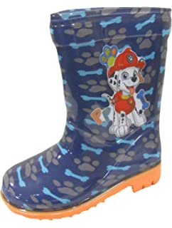 bd836953f29 Boys Paw Patrol Chase   Marshall Blue Wellington Boots Kids Snow Wellies  Mid Calf Boots