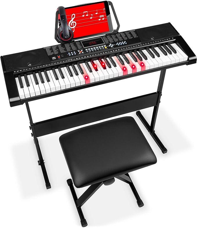 Best Choice Products piano de teclado electrónico de 61 teclas para principiantes con LED, teclas iluminadas, 3 modos de enseñanza, auriculares