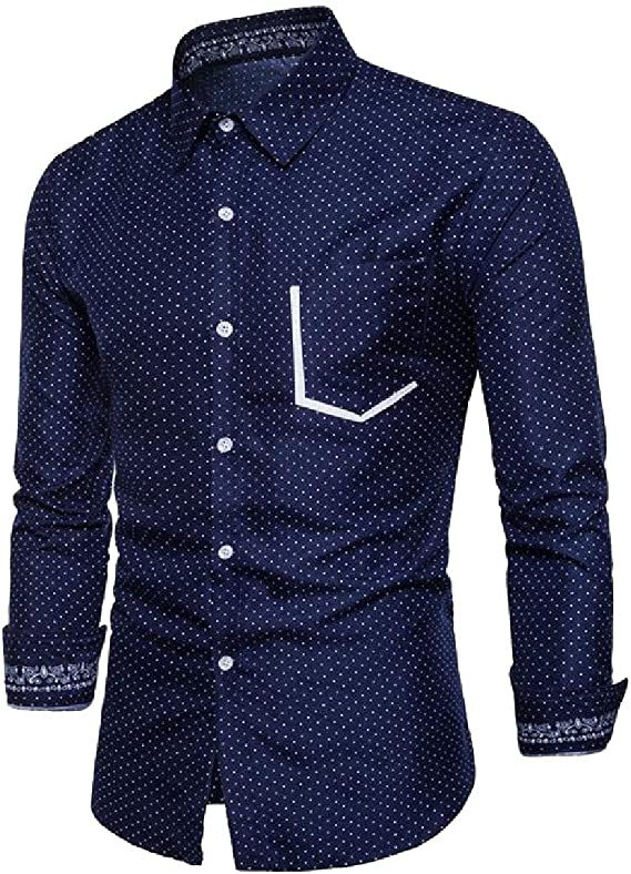 RingBong Mens Fashion Cotton Lapel Denim Long-Sleeve Button Top Tshirt Shirt