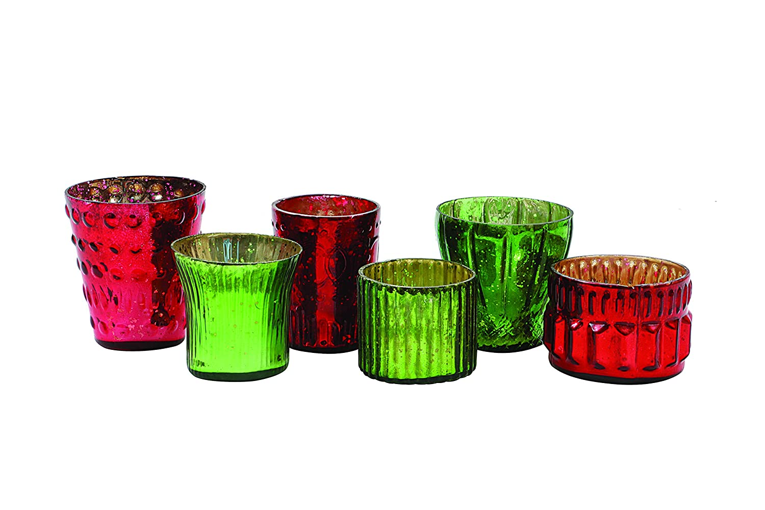 Christmas Red & Green Mercury Glass Tealight Candle Holders Set of 6