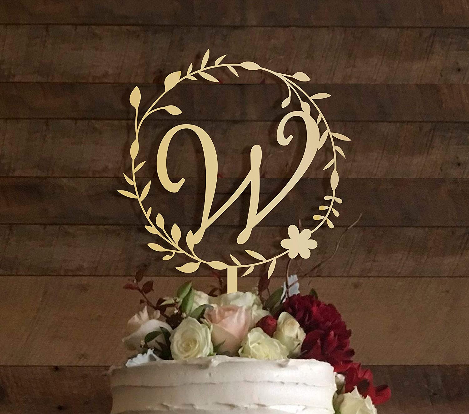 KISKISTONITE Rustic Wedding Cake Topper, Initial Cake Topper, Monogram Cake Topper W ,Wedding Gold Cake Decoration Cake Decorating