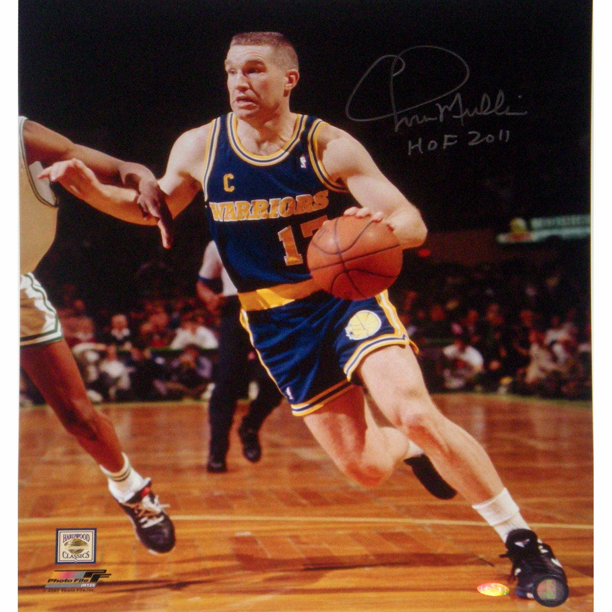 NBA Golden State Warriors Chris Mullin Drive to Basket Left Handed Vertical Photograph with HOF 2011 Inscription, 6x20-Inch