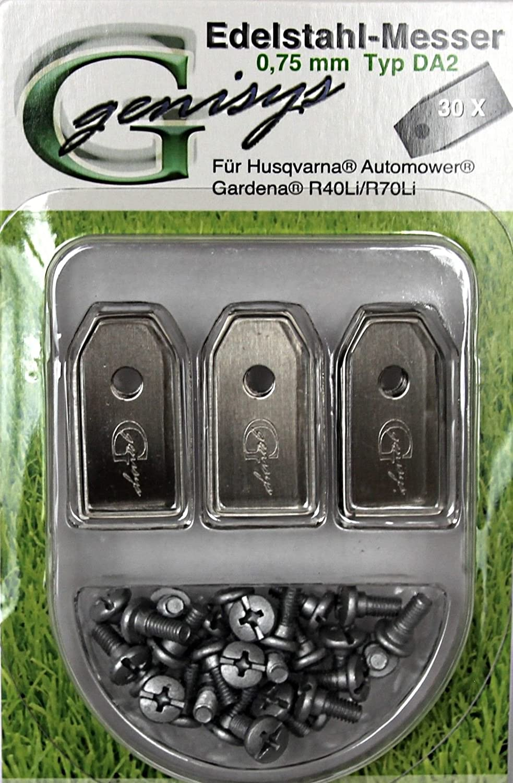 ***30 Messer (0,75mm / 3,1g) ** für den Husqvarna Automower / Gardena R40Li, R70Li genisys