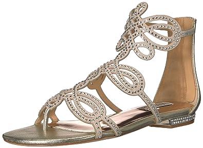 7d423a0c5274bb Badgley Mischka Women s Tempe Flat Sandal Platino 5.5 ...