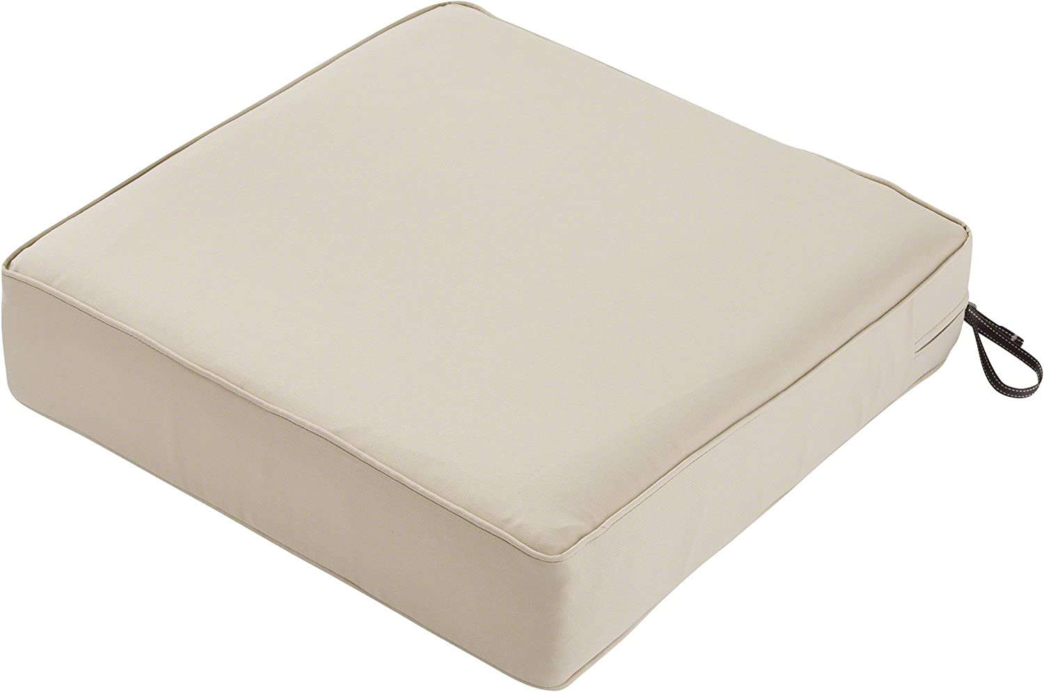 Classic Accessories Montlake Water-Resistant 23 x 23 x 5 Inch Square Outdoor Seat Cushion, Patio Furniture Chair Cushion, Antique Beige