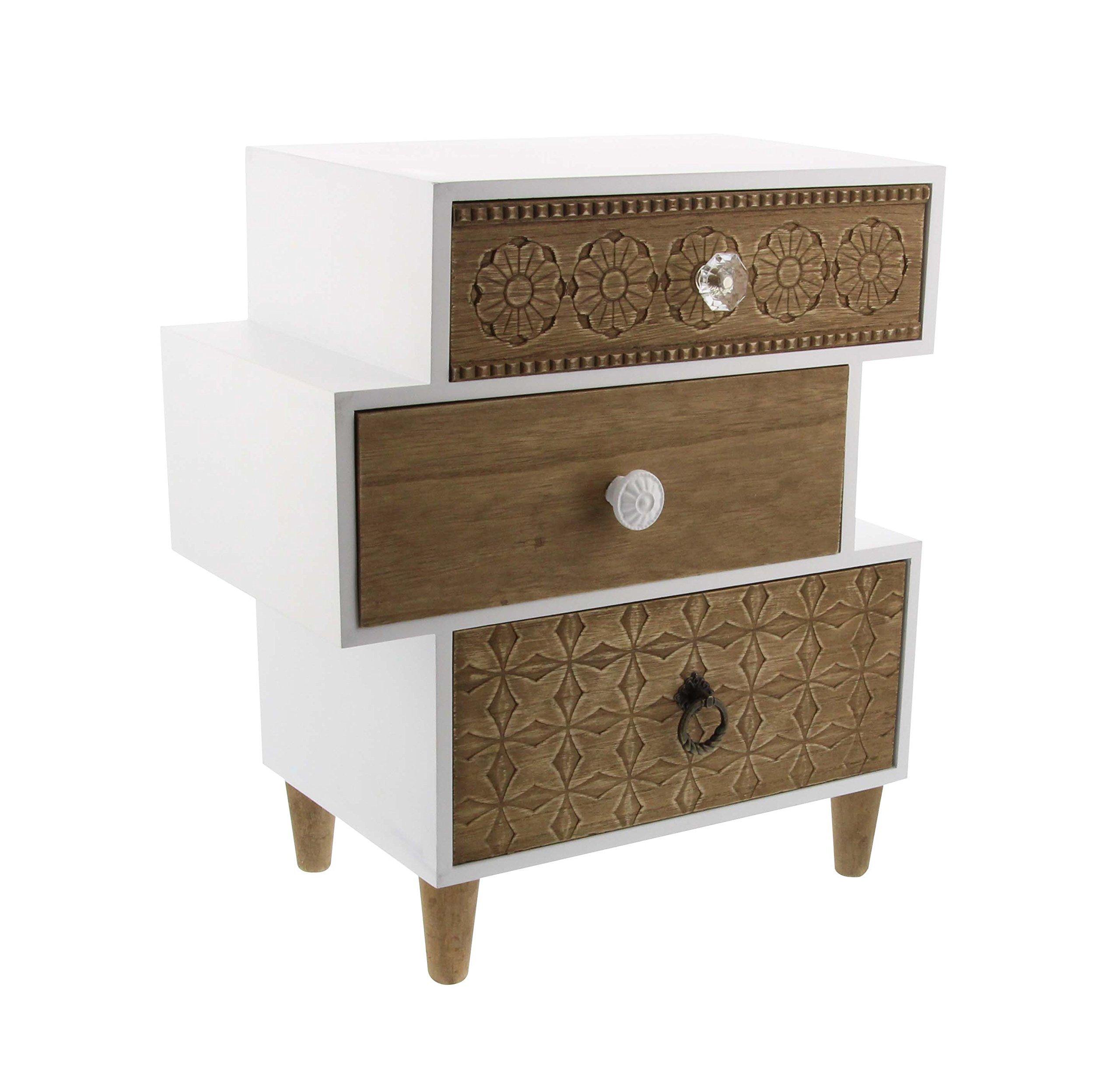 Deco 79 85263 Wooden Lattice Jewelry Box, 16'' x 14'', White/Brown/Clear