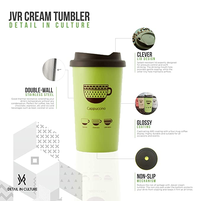 7b79d8291b45 Amazon.com: JVR Stainless Steel Reusable Coffee Cup | Double Wall Vacuum  Insulated Travel Coffee Mug with Lid | 13 oz (380 ml) Insulated Cup Perfect  For Tea ...