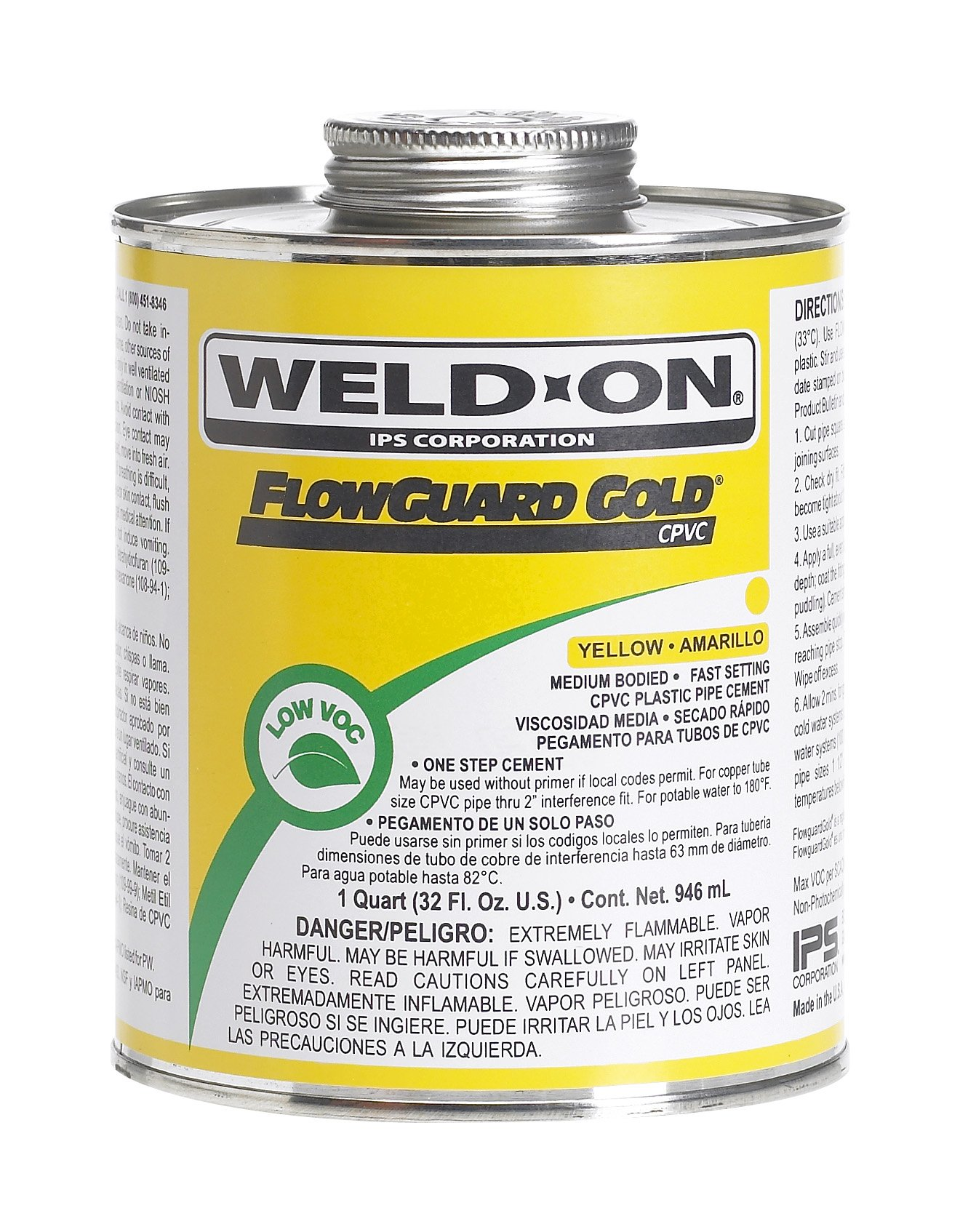 Weld-On 11026 Yellow Medium-Bodied CPVC FlowGuard Gold Professional Plumbing-Grade Cement, Fast-Setting, Low-VOC, 1 quart Can with Applicator Cap