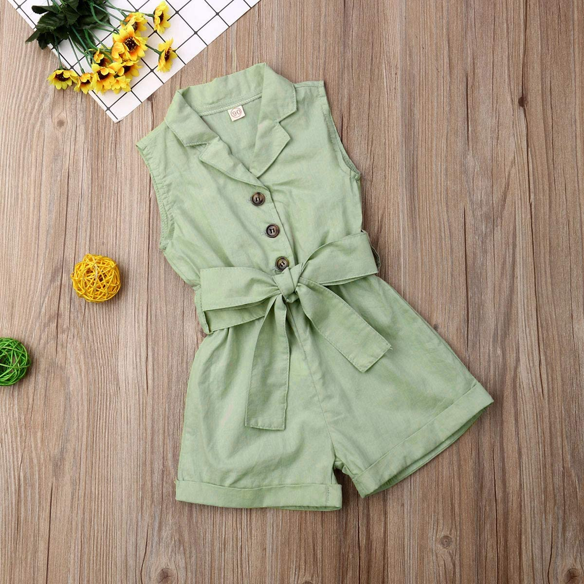 Toddler Kids Baby Girl Flutter Sleeve Short Romper Jumpsuit Botton Down Shirt Tops with Bowknot