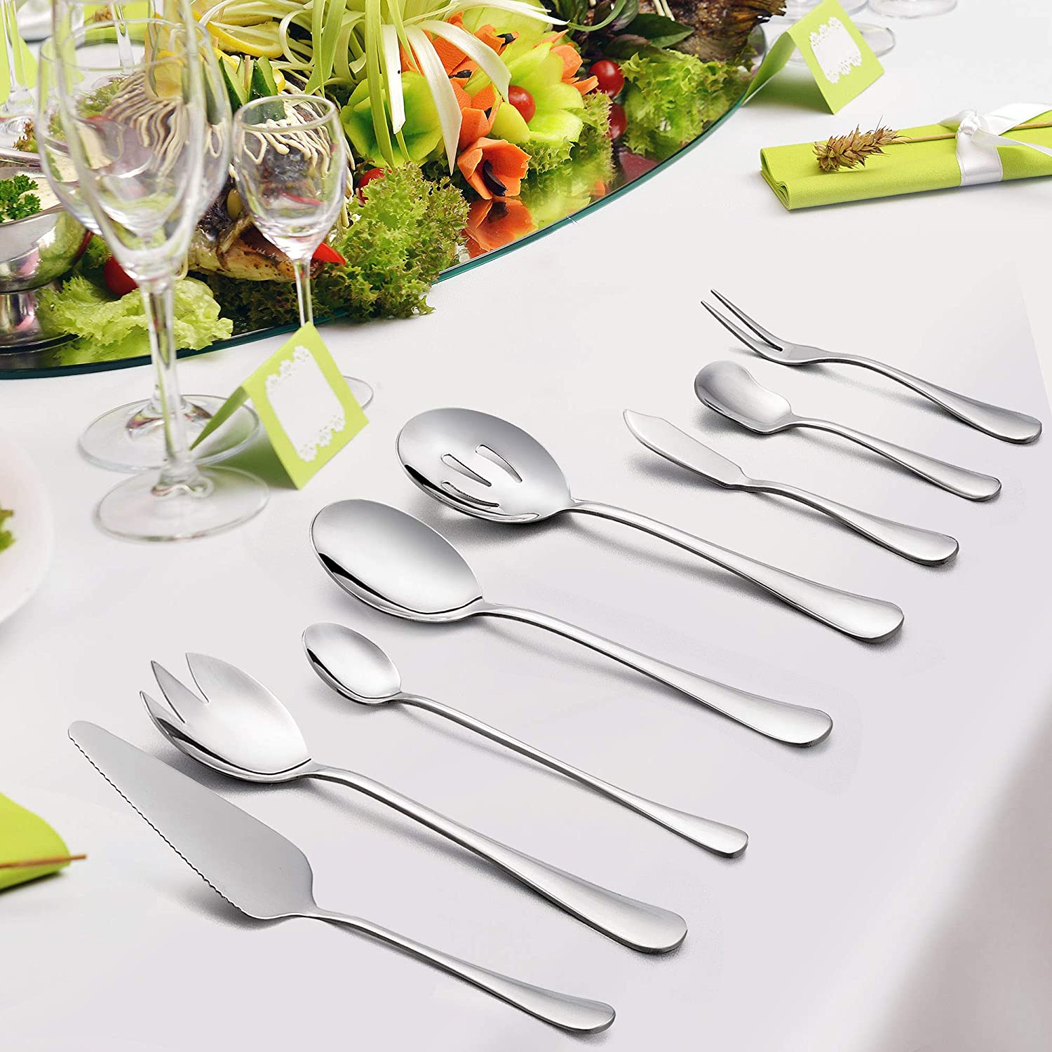 48-Piece Flatware Set Service for 8, Stainless Steel Cutlery Eating Utensils, Mirror Finish, Dishwasher Safe