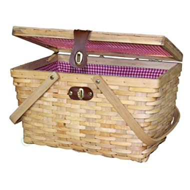 Vintiquewise QI003148N Woodchip Large Picnic Basket Red and White Gingham Lining Folding Handles, 14.5  x 10  x 8.75 , Natural