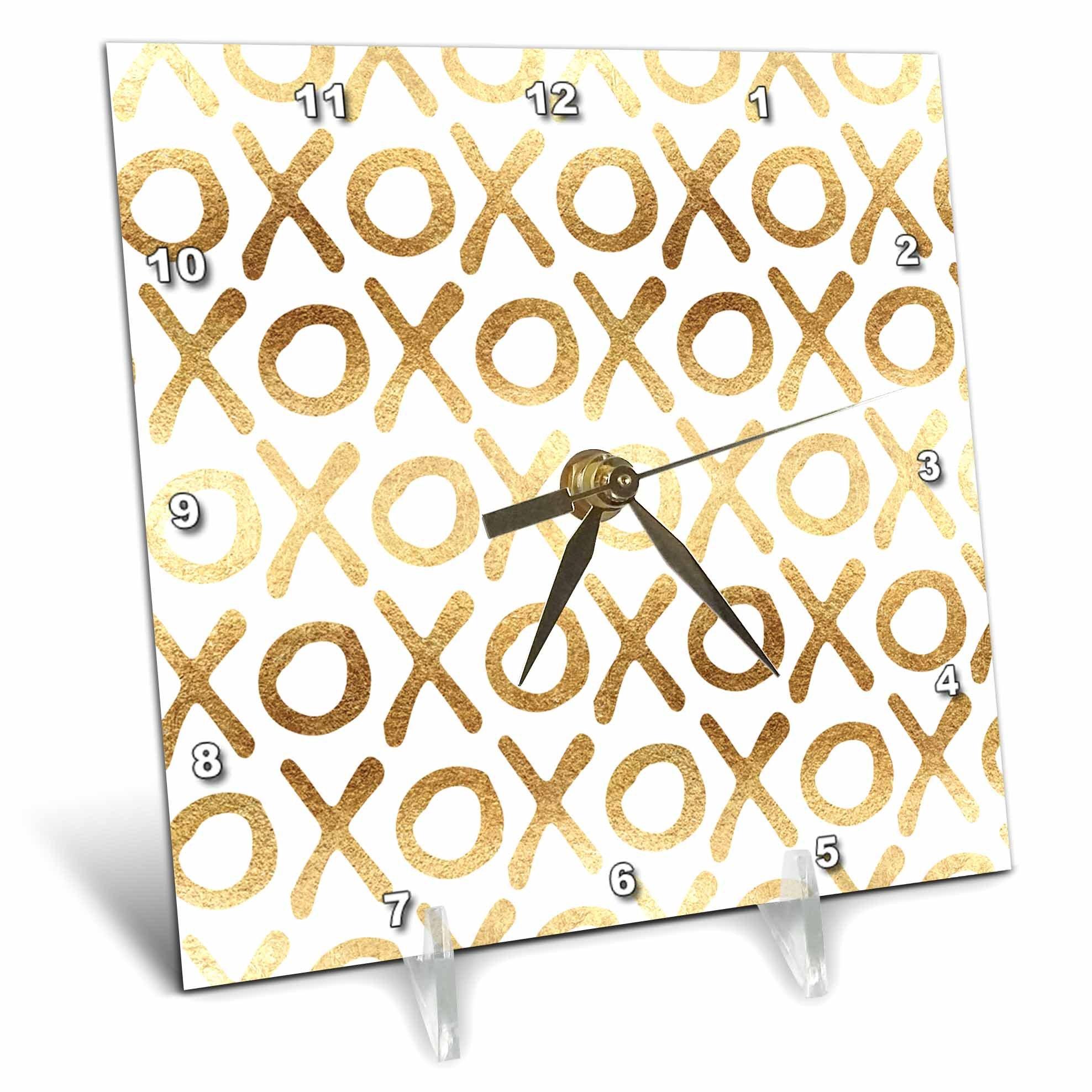 3dRose PS Inspiration - Image of White Gold XOXO - 6x6 Desk Clock (dc_280719_1)