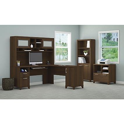 Bush Furniture Achieve L Shaped Desk With Hutch, Bookcase And Printer Stand  File Cabinet