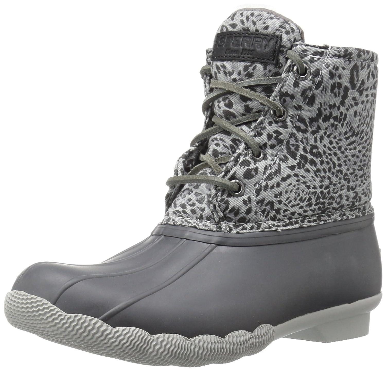 Sperry Top-Sider Women's Saltwater Prints Rain Boot B019X5T53A 5 B(M) US|Dark Grey Cheetah