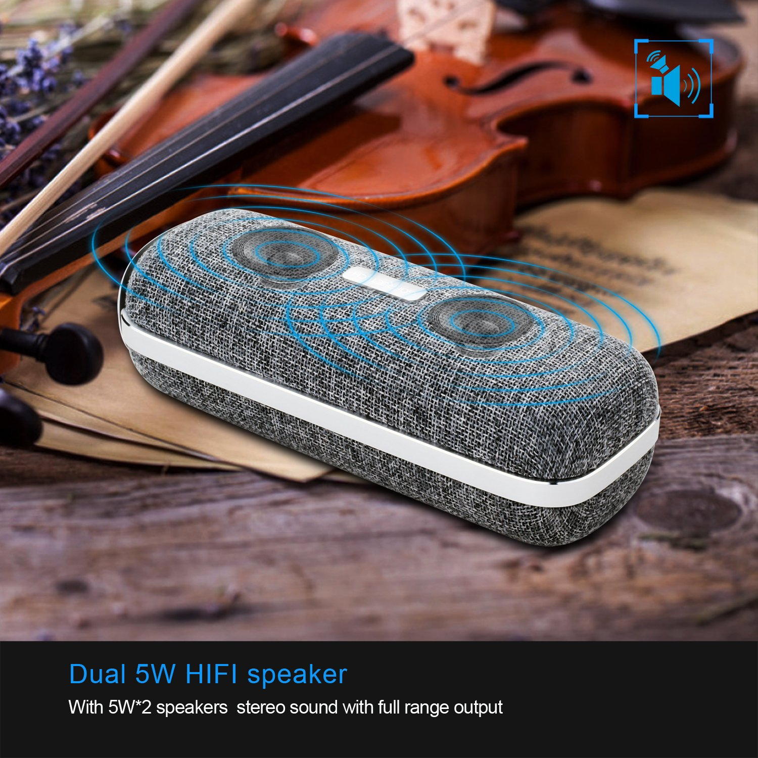 Wireless Bluetooth Speaker, Portable Classic Elegant Stereo Speakers with HD Sound Audio and Enhanced Bass, Bluetooth 4.2/AUX line/Dual Driver Speakers for Home, Beach, Travel, Party - Gofreetech by GOFREETECH (Image #7)