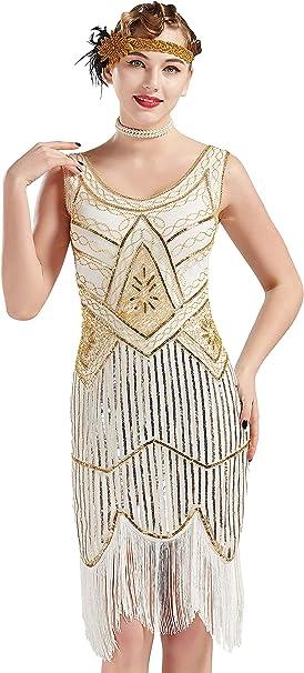 1920 20er 30er Jahre Kostüm Vintage Pailletten Great Gatsby Flapper Kostüm Kleid