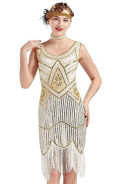 BABEYOND 1920s Flapper Dress Roaring 20s Great Gatsby Costume Dress Fringed  Sequin Dress Embellished Art Deco d5c941273ba5