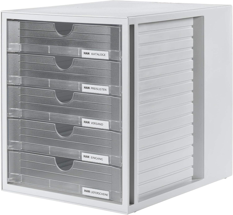 HAN 1450 SYSTEMBOX- Cajonera para documentos (DIN A4/C4 y formatos mayores, 5 cajones cerrados), color Transparente