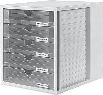 Ordnungsbox DIN A4 Aufbewahrungsbox mit geschlossenen Schubladen HAN Schubladenbox SYSTEMBOX 1450-14 in Lichtgrau//Blau
