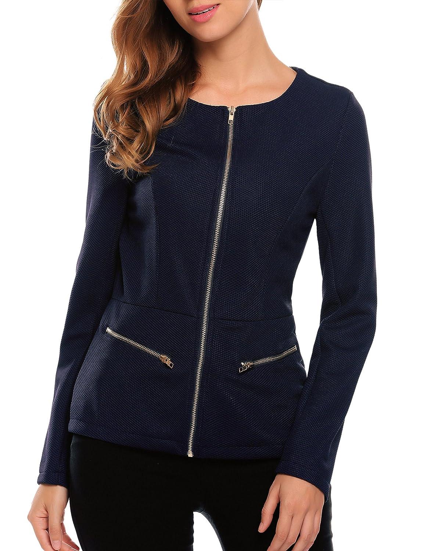 Finejo Damen Blazer mit Rei/ßverschluss Kurzjacke Tailliert J/äckchen Business Jacket Mantel Tops Herbst Fr/ühling