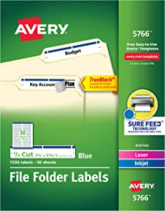 Avery Blue File Folder Labels for Laser and Inkjet Printers with TrueBlock Technology, 2/3 inches x 3-7/16 inches, Box of 1500 (5766)