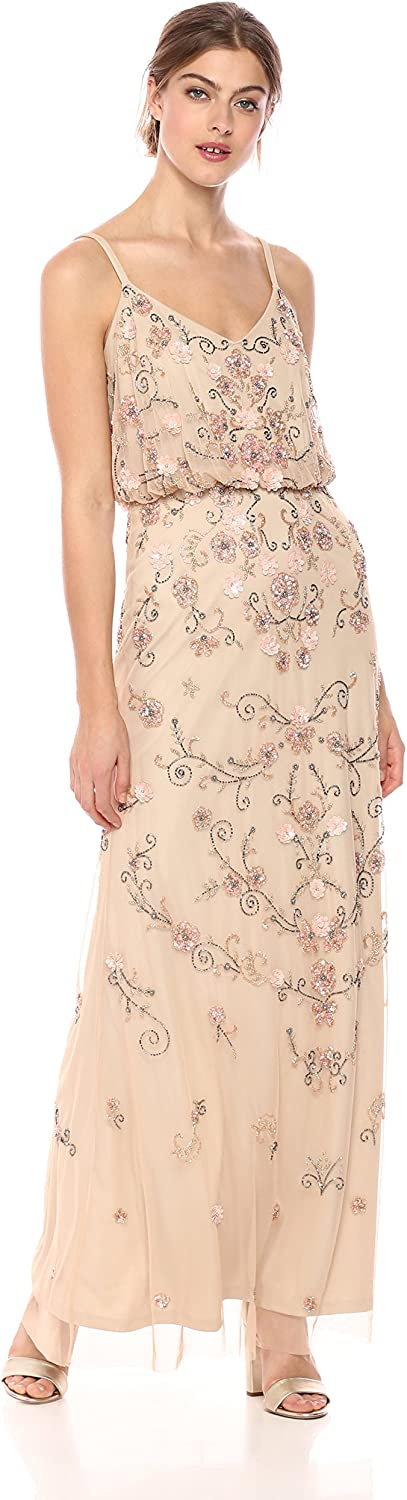 1920s Dresses UK | Flapper, Gatsby, Downton Abbey Dress Adrianna Papell Womens Multi Colored Floral Beaded Blouson Gown Dress £550.10 AT vintagedancer.com
