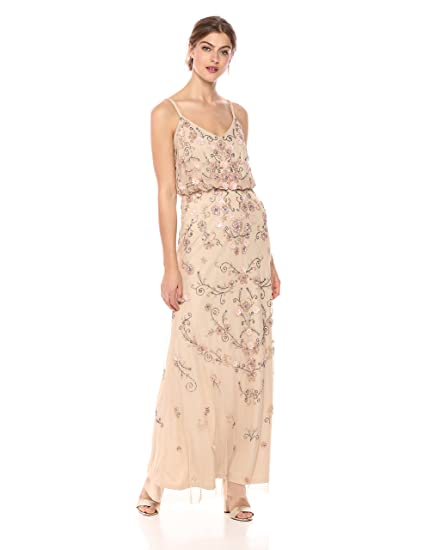 Adrianna Papell Womens Multi Colored Floral Beaded Blouson Gown At