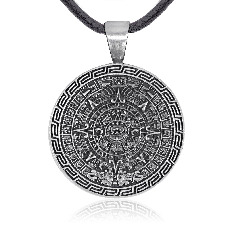Dan's Jewelers Maya Mayan Calendar Pendant Necklace, Fine Pewter Jewelry