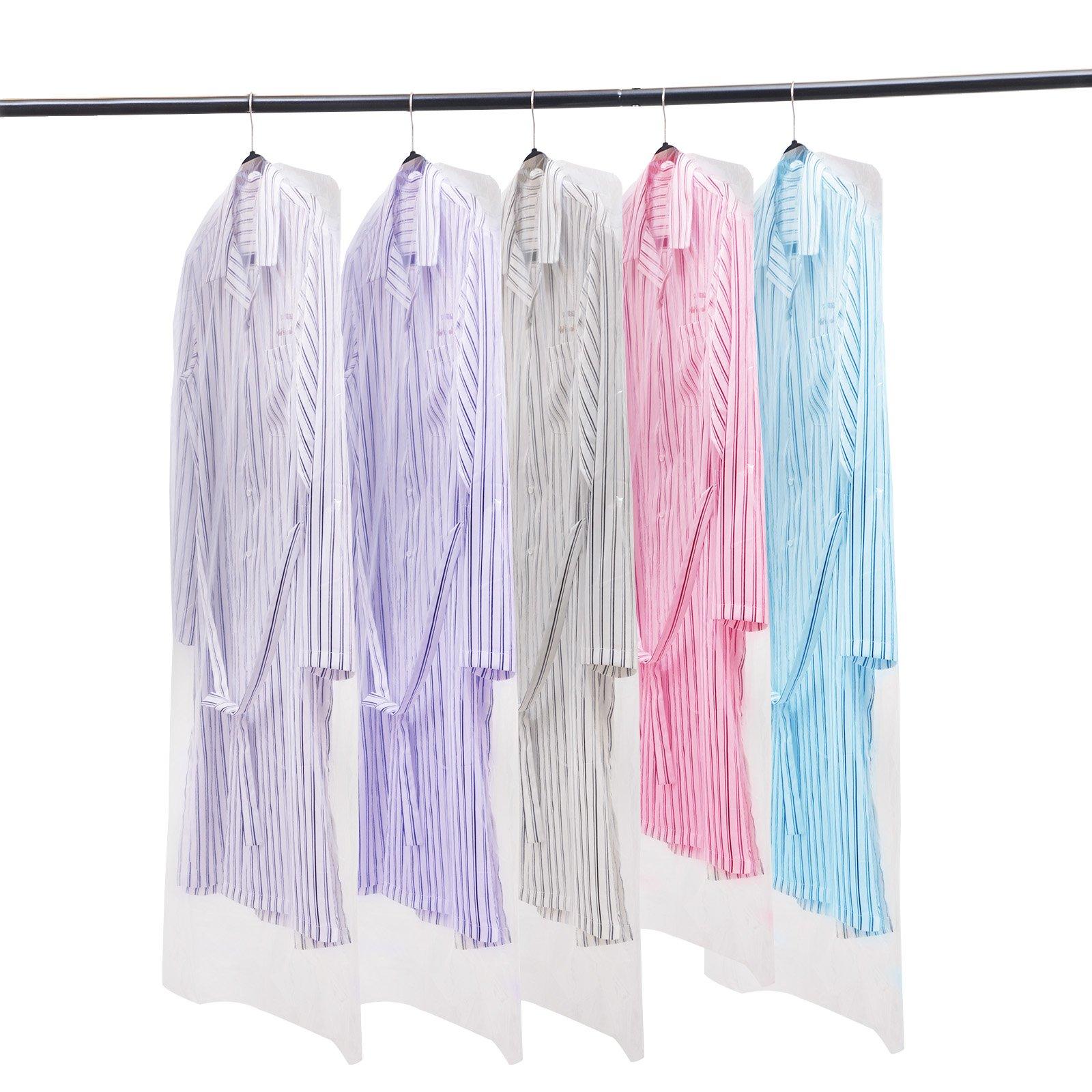 Voilamart 100 Pack Garment Bag Transparent 23.6'' x 47.2'' - Dustproof Polythene Hanging Clothes Suit Protector Dress Jacket Cover for Dry Cleaner, Home Storage, Travel, Wedding, Road Trip