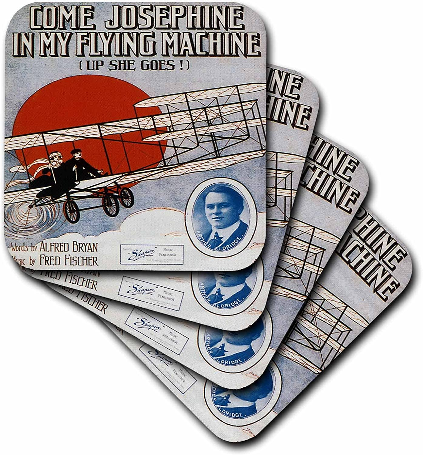 3dRose cst/_154828/_1 Come Josephine in My Flying Machine Couple Flying in a Plane Song Sheet Cover Soft Coasters Set of 4