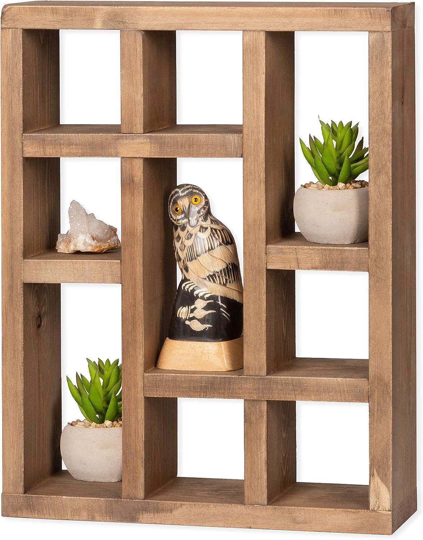 Ilyapa Knick Knack Shelf, Barnwood - Wall Mounted or Freestanding Farmhouse Decor Display Case for Essential Oils, Crystals, Rocks, Trinkets, Curios & More