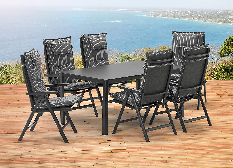 Kettler Sylt 1 Tisch 160 x 95 cm 6 Sessel 6 Auflagen Gartenmöbel ...
