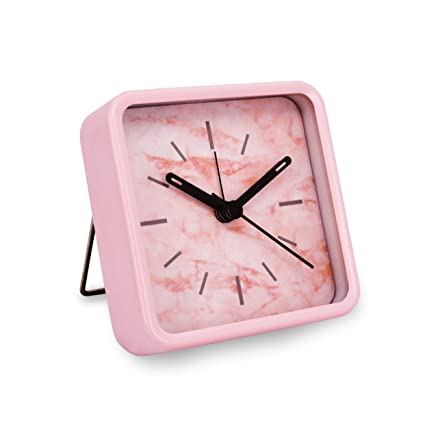 Slash Modern Small Portable Marble Pattern Metal Case Quartz Analog Desk Clock for Sitting Room, Bedroom, Office, Battery Operated, Loud Alarm, Quiet, ...