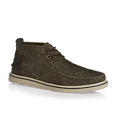 Toms Chukka Boot Dark Earth Herringbone and Leather Mens 10 a9e7a09132