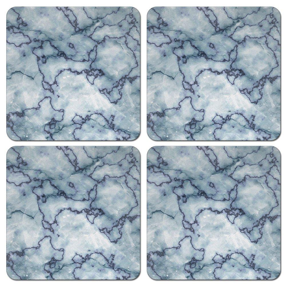 Caribouコースターブルー、スカイブルー、曼荼羅デザイン正方形吸収性ネオプレンコースターDrinks、4個セット SQNC-SBCST0002-4-A3251  Blue Spider Marble B07DNY23Y9