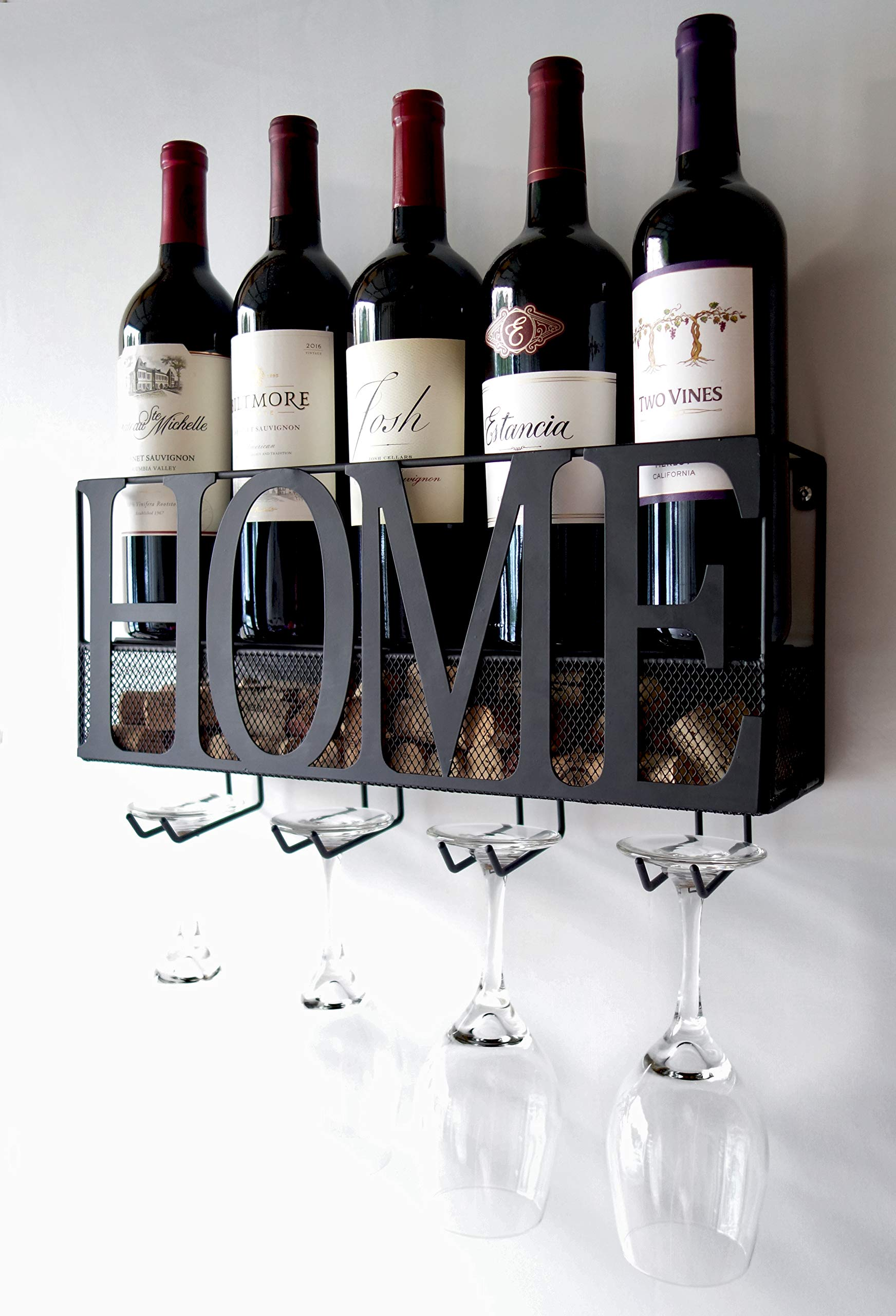 MKZ Products 3-in-ONE Wall Mounted Wine Rack | Wine Bottle & Glass Holder | Cork Storage | Storage Rack | Home & Kitchen Décor