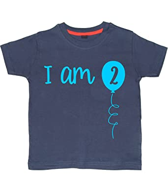 a86146738 2-3 Years Navy 2nd Birthday T-Shirt I Am Two With Sky Blue Print: Amazon.co. uk: Clothing