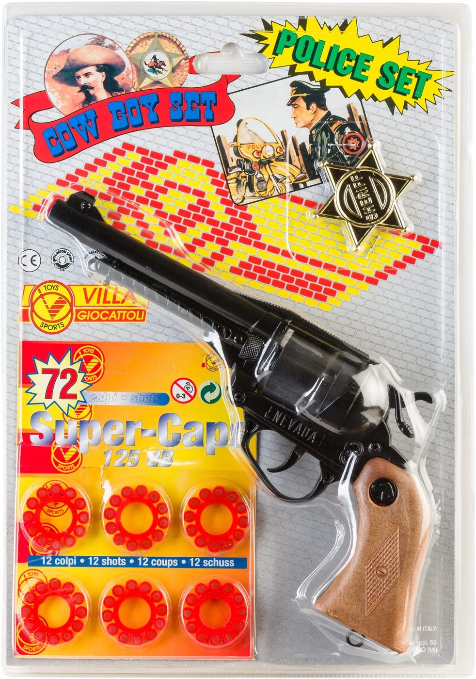 Villa Juguetes 1571 9 Juego Pistola Nevada 12 Disparos en Blister ...