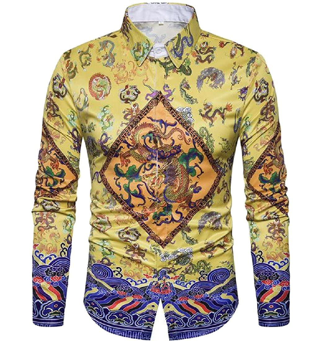 Vska Men Print Folk Style Classics Turn Down Collar Dress Shirts Top