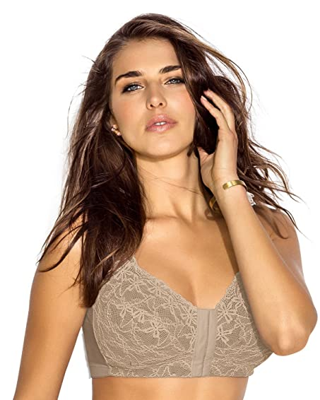 0e8993fd72 Image Unavailable. Image not available for. Color  Leonisa Women s Wireless  Lace Minimizer Front Closure Posture Back Support Bra
