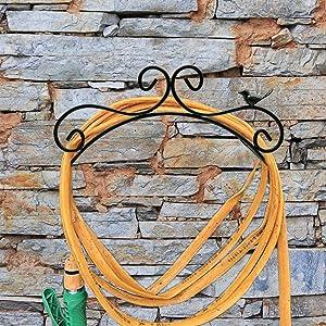 Wajj Garden Hose Holder Decorative Wall Mount Hanging Hanger Rack Butler Cast Iron Antique Style Bird Brackets Garden Braces Water Pipe Storage Rack Rustic Shelf Black