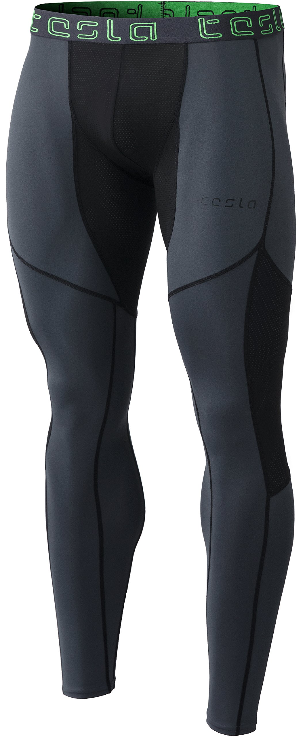 Tesla TM-MUP79-CHK_2X-Large Men's Mesh-Panel Compression Pants Baselayer Cool Dry Sports Tights Leggings MUP79