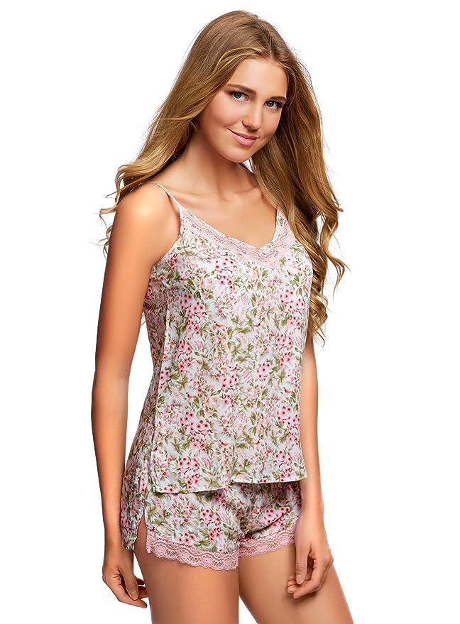 oodji Collection Mujer Pijama de Viscosa con Encaje, Blanco, ES 36 / XS: Amazon.es: Ropa y accesorios